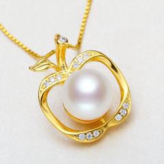 S925純銀項鏈時尚小蘋果珍珠吊墜鎖骨鏈簡約生日禮物百搭正品包郵 白色 8-9mm 40cm