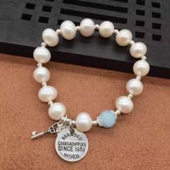 9-10mm天然淡水珍珠手链 天然海蓝宝 s925纯银配饰