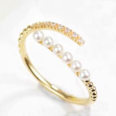 新品 18k黃金小清新排鑲珍珠鉆石戒指 開口時尚鉆戒女款 H/白 20分以下不分級 18k玫瑰金 0