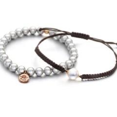 强烈推荐款 银灰色 珍珠手链加手绳  两款一套 手工制作