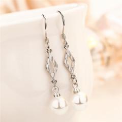 S925银耳环女时尚菱形珍珠耳环名媛气质耳挂式长款耳坠 菱形耳环E-135