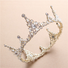 韩式新娘圆形大皇冠公主头饰珍珠水钻王冠发饰婚礼结婚婚纱配饰品 简装