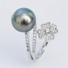 花瓣11-12mm海水溪地黑珍珠戒指圆强光孔雀绿925银开口指环 黑色微瑕 11-12mm