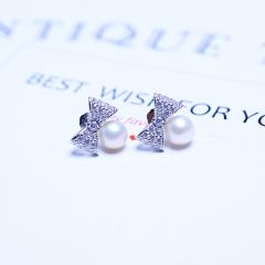 韩国925纯银蝴蝶结个性短款珍珠耳钉气质百搭防过敏耳环时尚耳坠 标准款