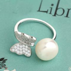 欧美珍珠S925银开口可调节蝴蝶戒指指环穆夏的花园 初冬