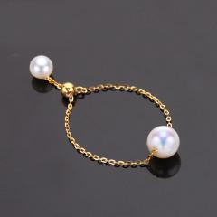 日本akoya珍珠戒指 18K黄金天然海水软戒 可调节 18K金 基本无瑕 6.5-7mm