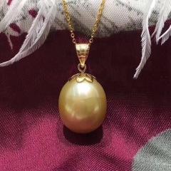 南洋金珠 18K南洋珍珠吊坠 南洋珍珠 珍珠项链 金色 10-11mm 40cm