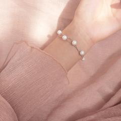 超仙温柔复古双层母贝珍珠S925纯银手链气质约会手环礼物女