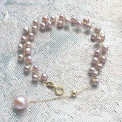 然紫色小珍珠手链 18K金款珍珠手链 带调节球手链手镯 可调节长度18k金