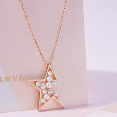 新品925银镀樱花金 星星珍珠 长项链/项链毛衣链女 毛衣链 50+5cm延长链