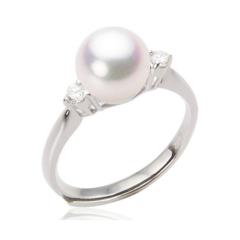 经典简约款 淡水珍珠戒指 925银戒圈 大小可调节 珍珠戒指