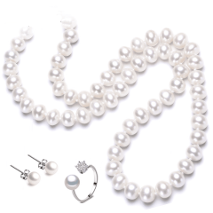 淡水珍珠項鏈飽滿強光澤8-9mm送媽媽/婆婆禮物 珍珠項鏈三件套 8-9mm 45cm