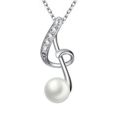 珍珠吊坠925银强光淡水珍珠项链音符女
