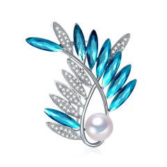 凤尾竹 10-10.5mm珍珠优雅精致胸针 定制 海蓝色 其他