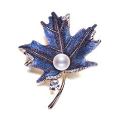 8-9mm 馒头圆 淡水珍珠胸针 复古蓝色枫叶