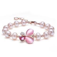 淡水珍珠手鏈手串情人節送女友送老婆禮物 蝴蝶手鏈/粉色 其他