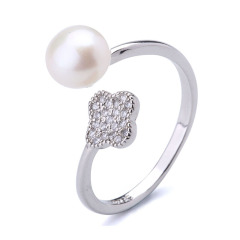 淡水珍珠戒指四葉草戒指尚指環