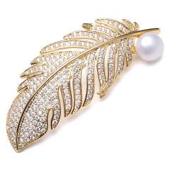 珍珠胸针女款优雅时尚金色羽毛胸针