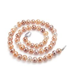 强光彩色淡水珍珠项链女士S925银 彩色 7.5-8mm 45cm