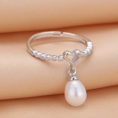 珍珠戒指天然淡水無暇強光正圓形 女S925純銀氣質手飾節日禮品 軍綠色