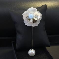 韩版一字插针式贝壳胸花气质珍珠胸针女时尚简约百搭配饰别针装饰 蓝色 其他