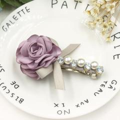 七彩格子韩国镶钻珍珠发夹马尾夹布艺花朵成人夹弹簧夹顶夹发饰女 香芋紫弹簧夹 其他