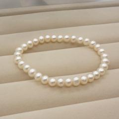 珠宝首饰 天然珍珠手链 清新秀气 精品小圆珠 近圆无暇女 925银 纯白色 7-8mm 17cm