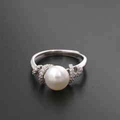 新款淡水珍珠戒指新品925纯银欧美版简约百搭活口指环送女友7047 白色正圆珍珠 8-8.5mm