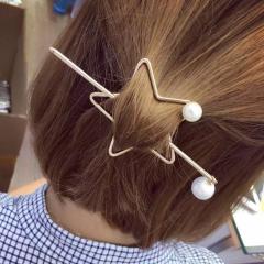 韩国气质五角星珍珠发夹发簪韩版百搭简约发插马尾发钗盘发饰品女 金色