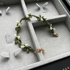 欧美日韩饰品 橙花天然淡水珍珠绿色烤漆复古夸张手链女