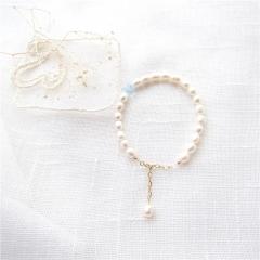 美好的遇见  天然米形淡水珍珠14K包金手链磷灰石 素款 4*5mm 15cm+3cm延长链