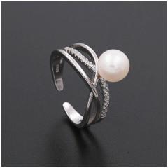 时尚新款淡水珍珠戒指s925纯银日韩潮人个性明星指环送女友7031