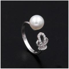 时尚新款单颗淡水珍珠戒指s925纯银日韩版简约大方开口指环女7036 白色系正圆珍珠 8-8.5mm
