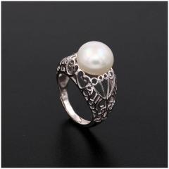时尚新款复古宫廷镂空珍珠戒指女s925银日韩创意个性活口指环7034