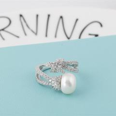 戒指S925纯银 开口单颗淡水绳结珍珠戒指时尚个性 开口均码 其他