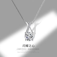 銀奧925純銀仿真鉆石項鏈女士 鎖骨鏈超閃單顆獨鉆一粒鉆性感脖鏈