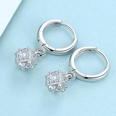 S925純銀水晶耳環耳墜女短款氣質韓國時尚簡約耳飾百搭小耳扣耳釘
