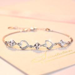 925純銀手鏈女三生有幸韓版簡約學生小清新森系手飾水晶銀飾女款