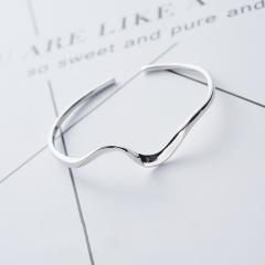 銀手鐲925純銀少女手環女 韓國時尚簡約銀鐲子開口莫比烏斯環手環