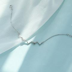 純銀幾何漸凍人手鏈女網紅心電圖小眾設計森系個性簡約手飾日韓版