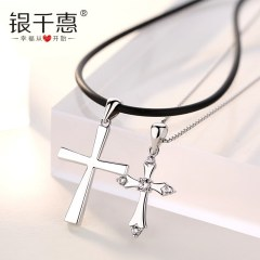 十字架純銀項鏈女男情侶一對吊墜首飾品定情信物情人節禮物送女友 十字架項鏈女款配盒仔鏈