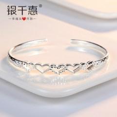 纯银手镯子女款学生日韩版简约小清新细森系百搭情侣一对闺蜜礼物