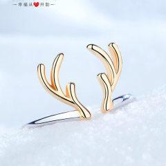 麋鹿角纯银戒指女时尚个性日式轻奢网红冷淡风小众设计食指可调节