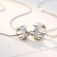 925純銀項鏈女韓版鎖骨小蠻腰吊墜情侶銀飾品小眾設計簡約冷淡風 心圓項鏈情侶一對