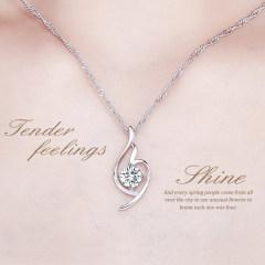 洛莎s925銀項鏈女日韓鑲鉆吊墜時尚鎖骨鏈簡約銀飾品