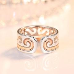 s925銀戒指女日韓簡約開口對戒情侶指環飾品送女友節日禮物 至尊寶情侶對戒(活口可調節)