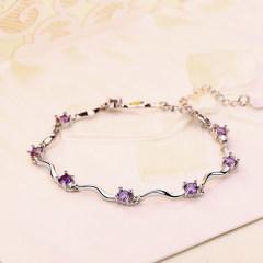 925銀竹節手鏈女韓版簡約清新生日禮物學生飾品送女友 竹節紫鉆手鏈