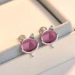 洛莎S925銀耳釘女清新氣質日韓時尚耳環簡約銀耳飾品 紫晶白金色耳釘