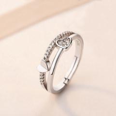 s925銀戒指女日韓簡約開口對戒情侶指環飾品送女友節日禮物 心相印單只(活口可調節)