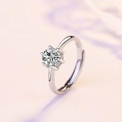 s925銀戒指女日韓簡約開口對戒情侶指環飾品送女友節日禮物 六爪戒指